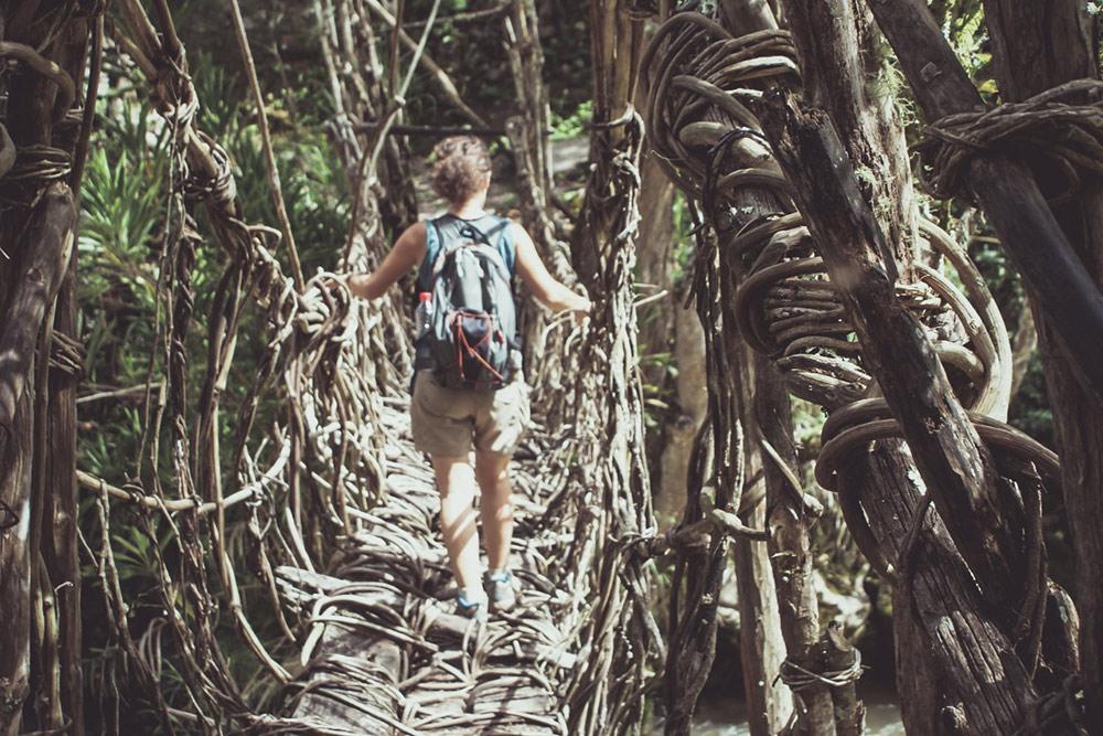 Одно из наших путешествий по Индонезии включает 3—4 дня трекинга по настоящим джунглям — деревням местных племен. В таком походе мы проводим две ночи в джунглях — в палатках вместе с москитами, встречаем по пути диких животных и ходим по подвесным мостам, сплетенным из лиан