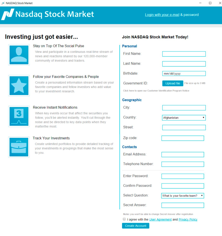 Регистрация на «бирже» тоже внушает доверие