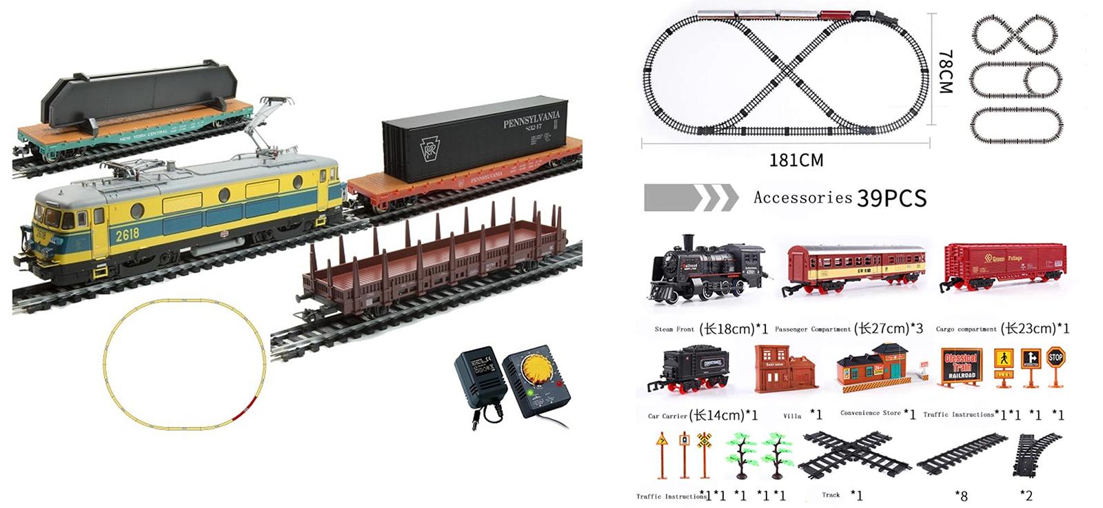Слева — оригинал: электровоз с тремя вагонами, рельсы и блок питания — 14 999 р.. Справа — аналог: от 2400 р.