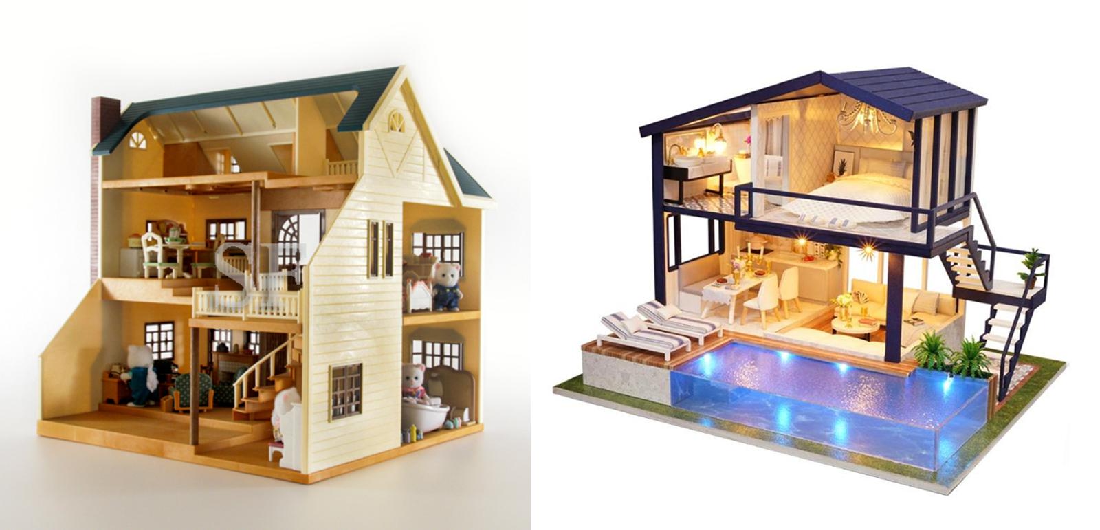 Слева — оригинал: двухэтажный домик с мансардой за 7000 р.. Справа — аналог: около 2000 р.