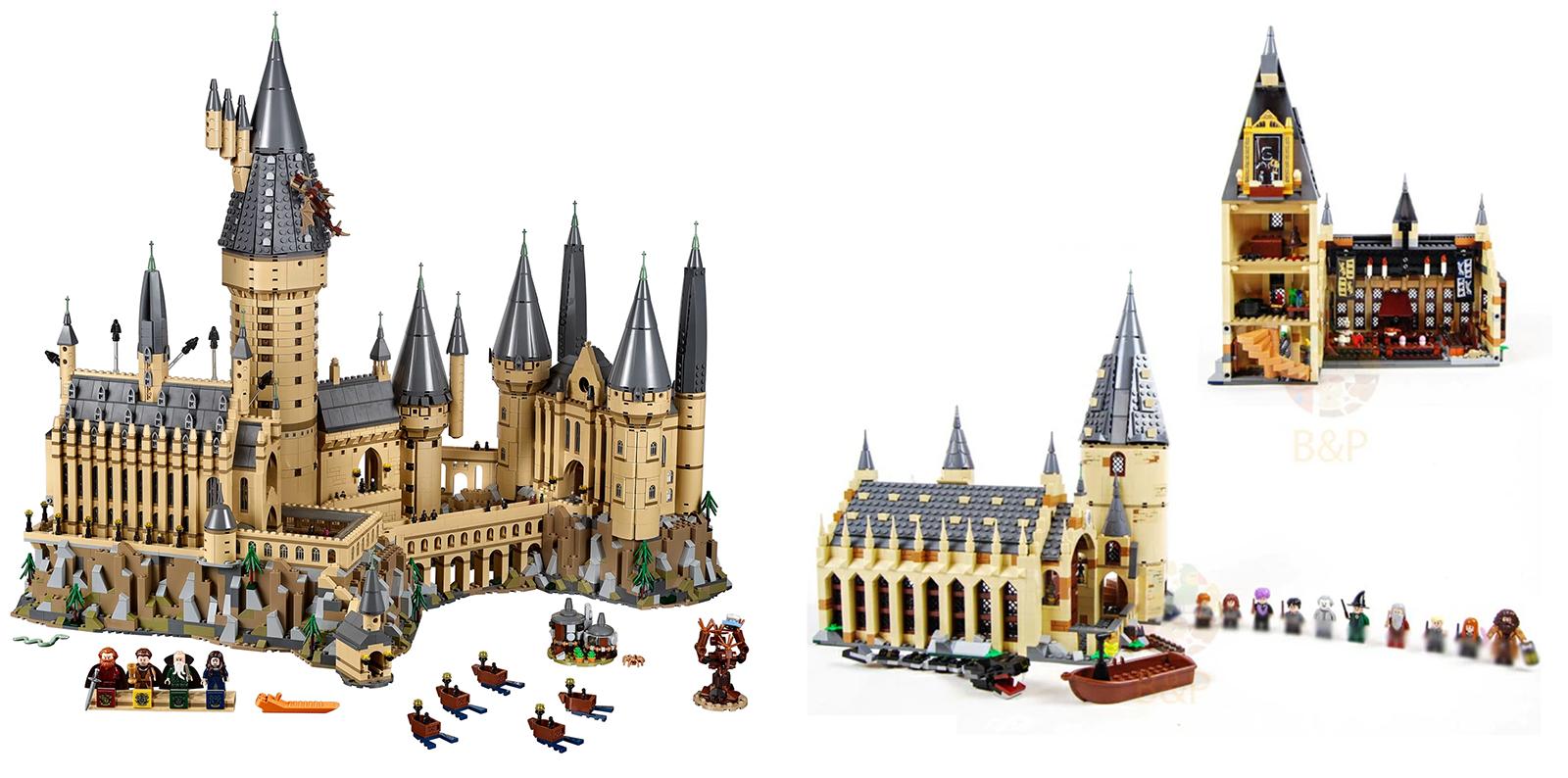 Слева — оригинал набора «Замок Хогвартс» за 34 999<span class=ruble>Р</span>. Справа — аналог с «Алиэкспресса» за 2410<span class=ruble>Р</span>
