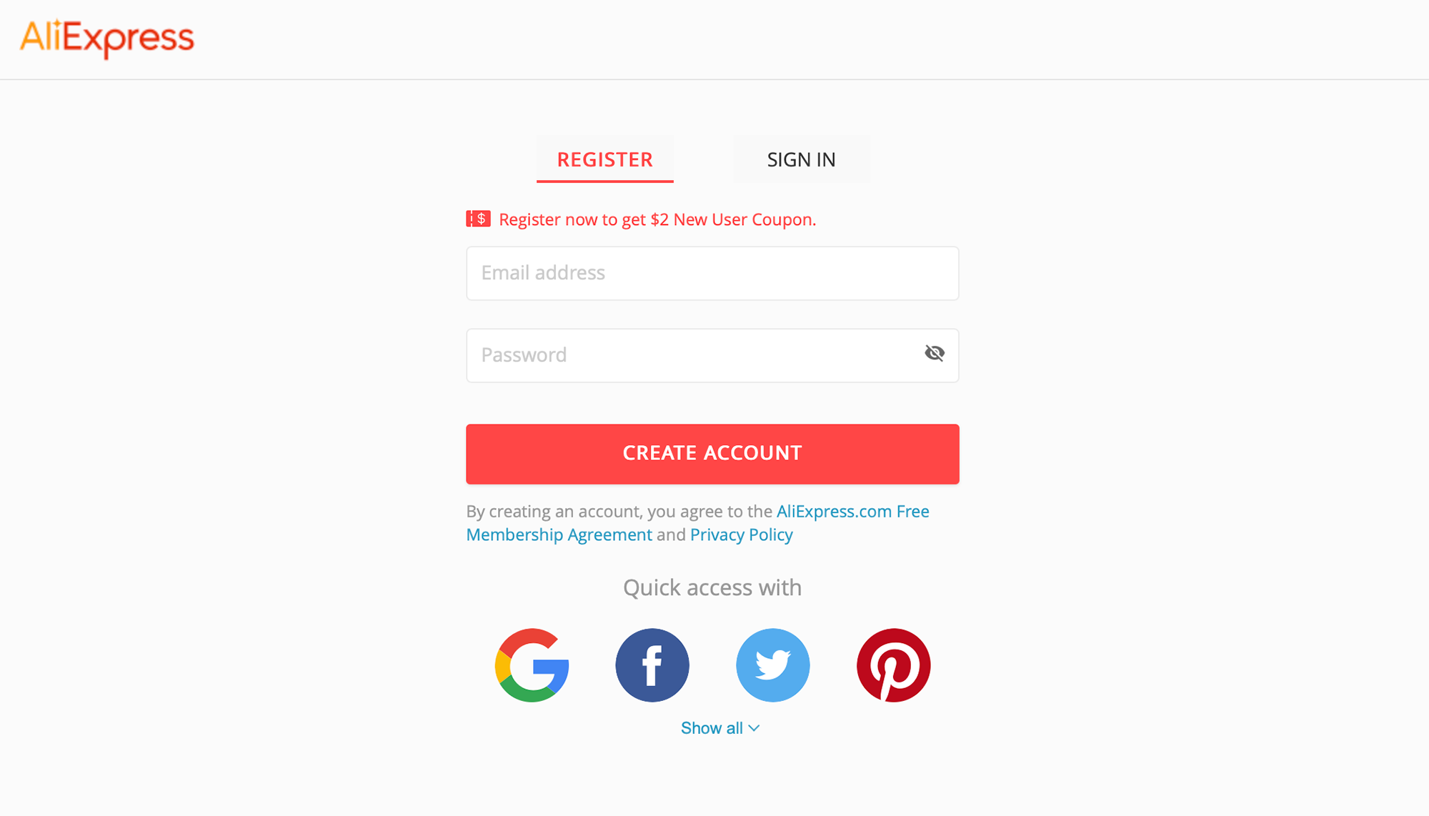 В появившейся форме введите свой адрес электронной почты, придумайте пароль и нажмите «Createaccount»