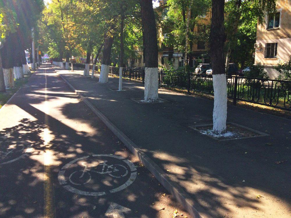Обособленная велодорожка на проспекте Абая