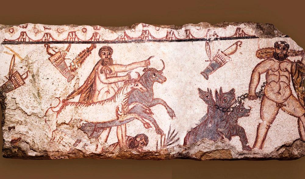 Фрагмент фрески изсклепа Геракла напомнил любимый паблик «Страдающее Средневековье». Фото изинстаграма музея