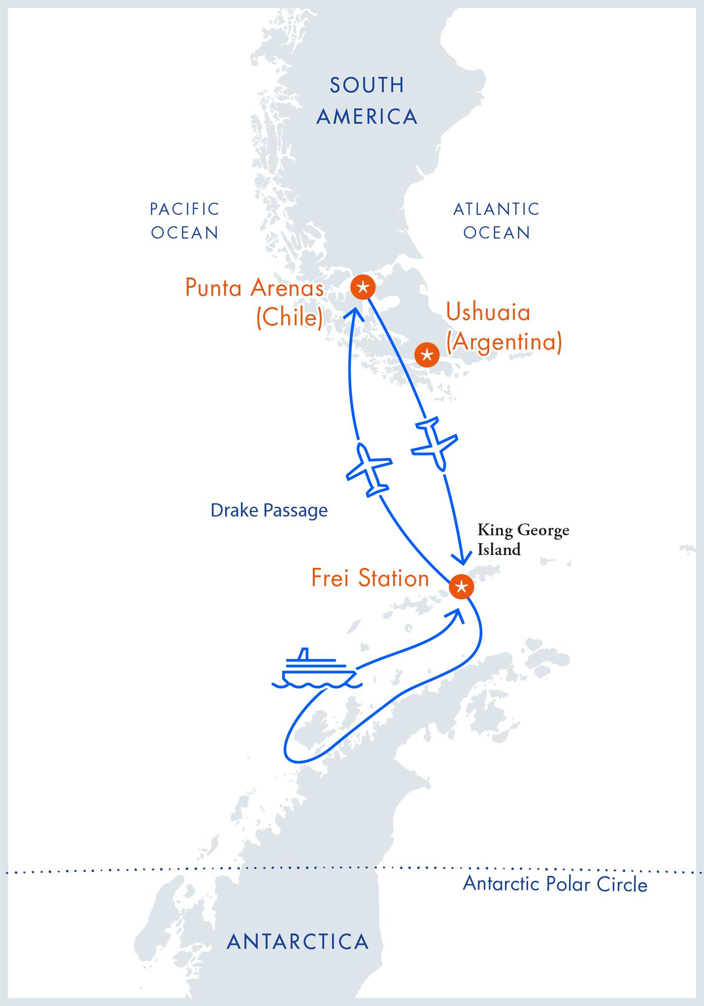Маршрут тура «перелет+ круиз». Источник: Antarctica21
