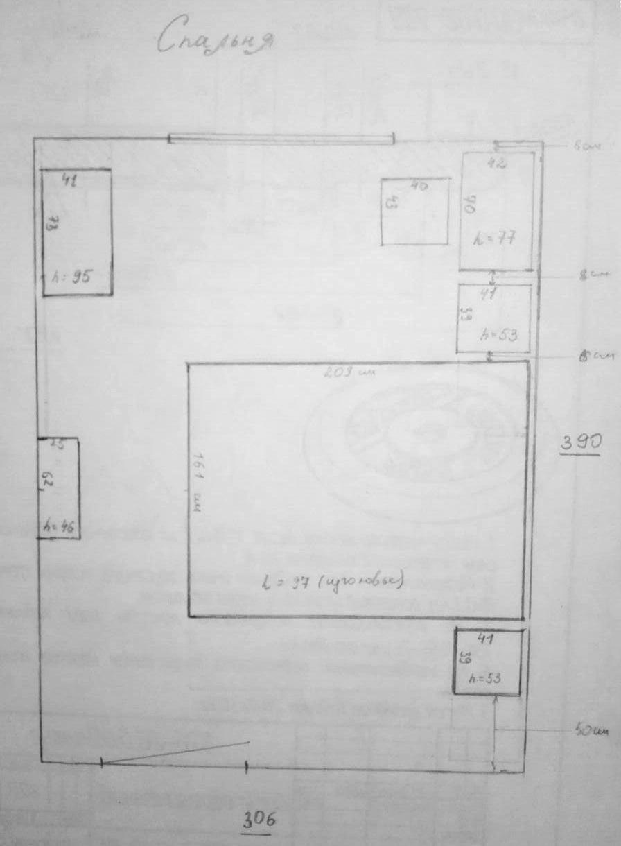 Чтобы правильно расположить розетки, супруга рисовала схему комнаты с возможной расстановкой мебели