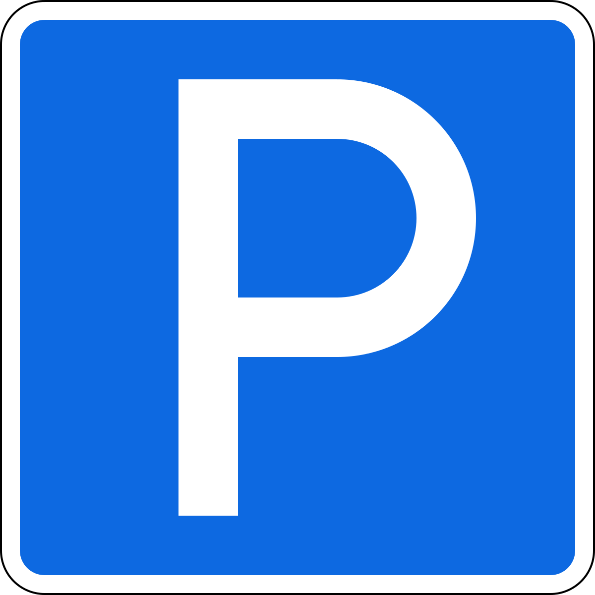 Так выглядит дорожный знак 6.4 — «Парковка (парковочное место)»