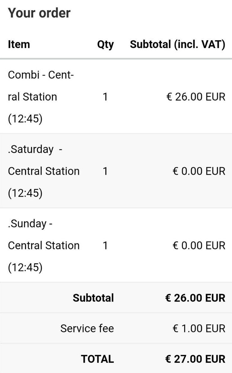 Автобус я оплачивала отдельно. С меня взяли дополнительный сервисный сбор — 1€