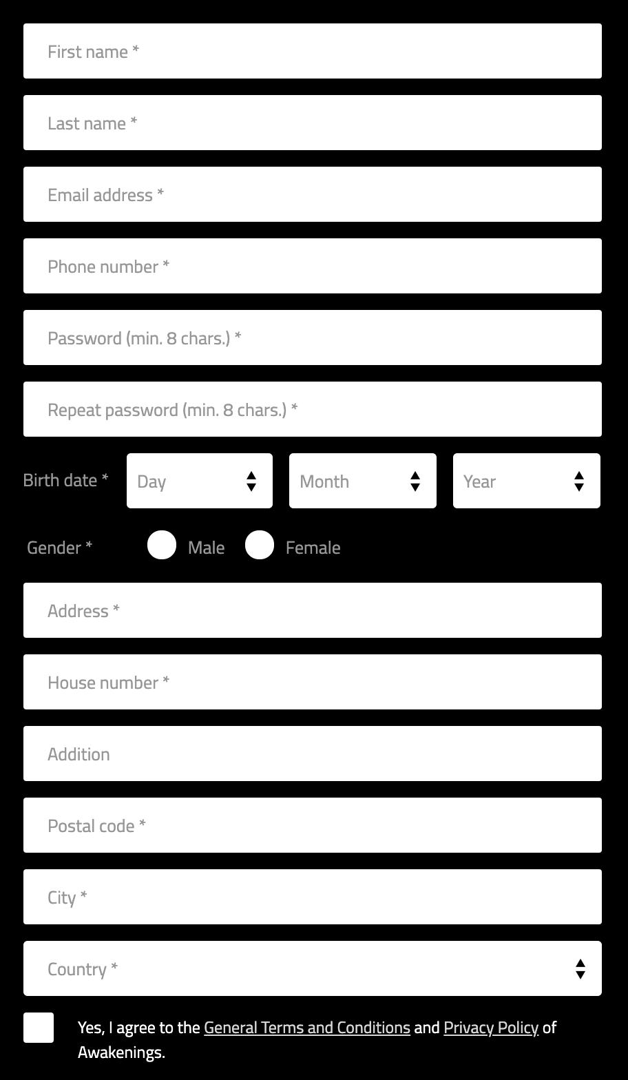 Анкета длязаполнения прирегистрации