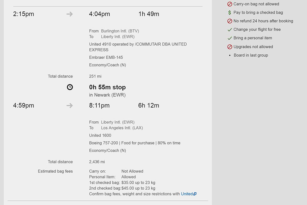Почти 9-часовой перелет из Берлингтона, штат Вермонт, до Лос-Анджелеса обойдется в 162$ (13 559<span class=ruble>Р</span>). Рейс выполняет авиакомпания United. На борту платная еда. Ручная кладь в стоимость билета не входит. Можно взять небольшую сумку размером 22 см на 25 см на 43 см