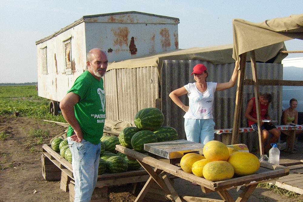 В сентябре заезжаем на местную бахчу, чтобы выбрать арбузы и дыни. За 12-килограммовый арбуз отдали всего 120 р.
