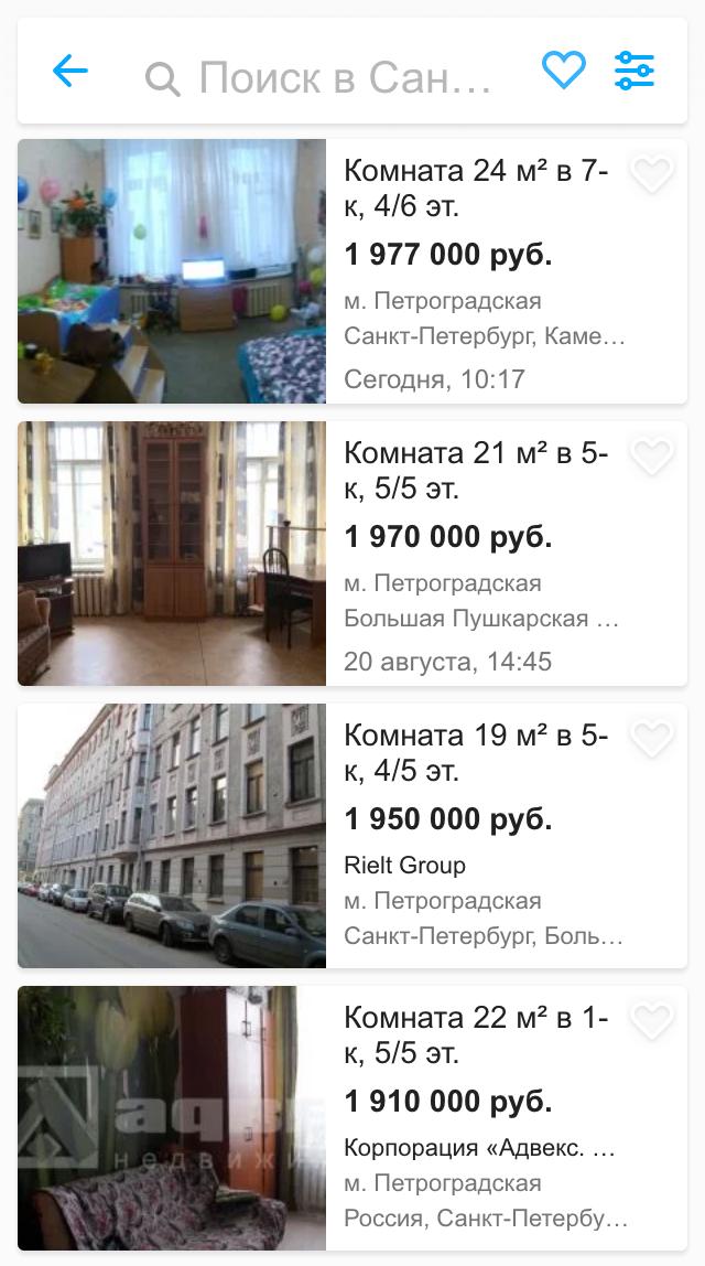 Цены в Петроградском районе на 20% выше, чем на Васильевском острове, поскольку Петроградский район считается более элитным. Но мы все равно смотрели везде