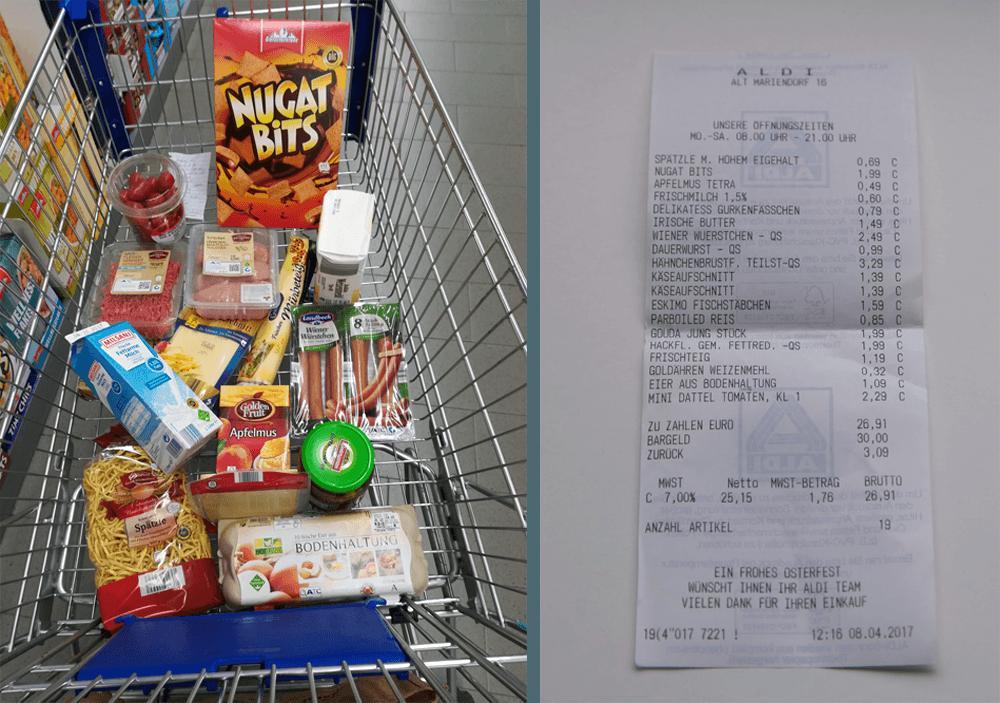 Продукты из супермаркета «Альди» на неделю на 26,91€