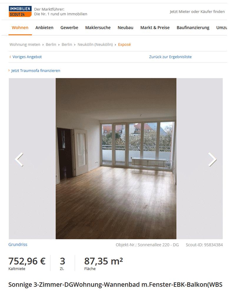 Трехкомнатная квартира в районе Нойкельн за 753€. Цена указана без коммунальных платежей