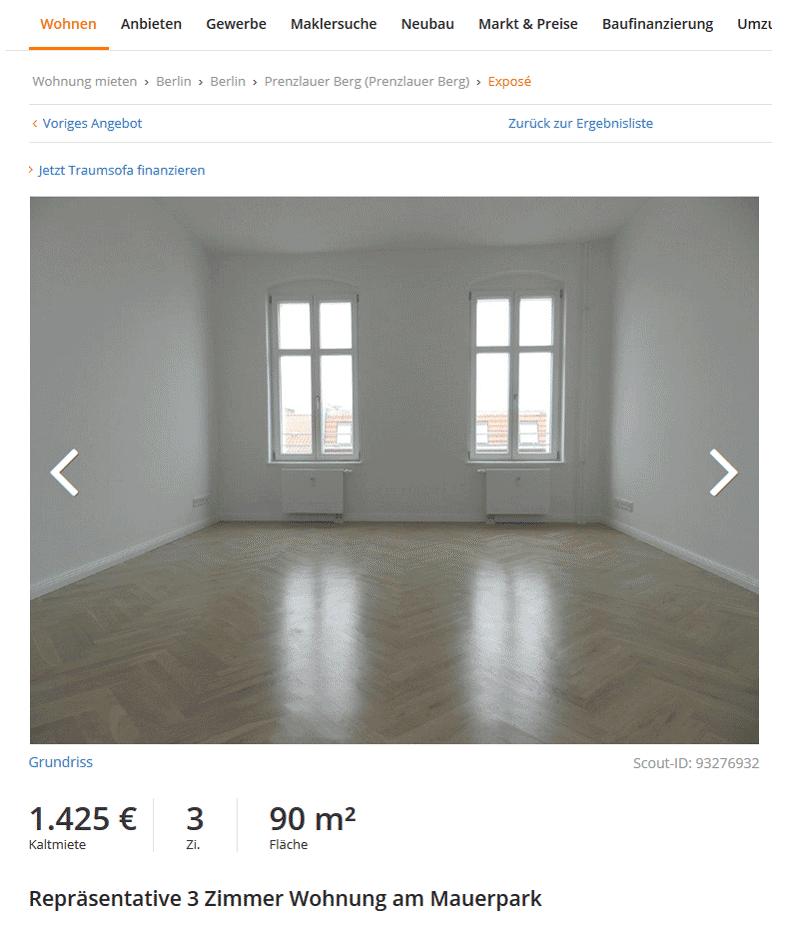 Аналогичная по площади квартира в модном районе Пренцлауэр-Берг стоит почти в два раза дороже