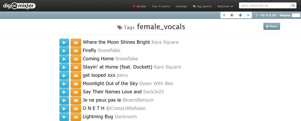 Можно сортировать музыку по тегам: например, послушать треки только с женским вокалом