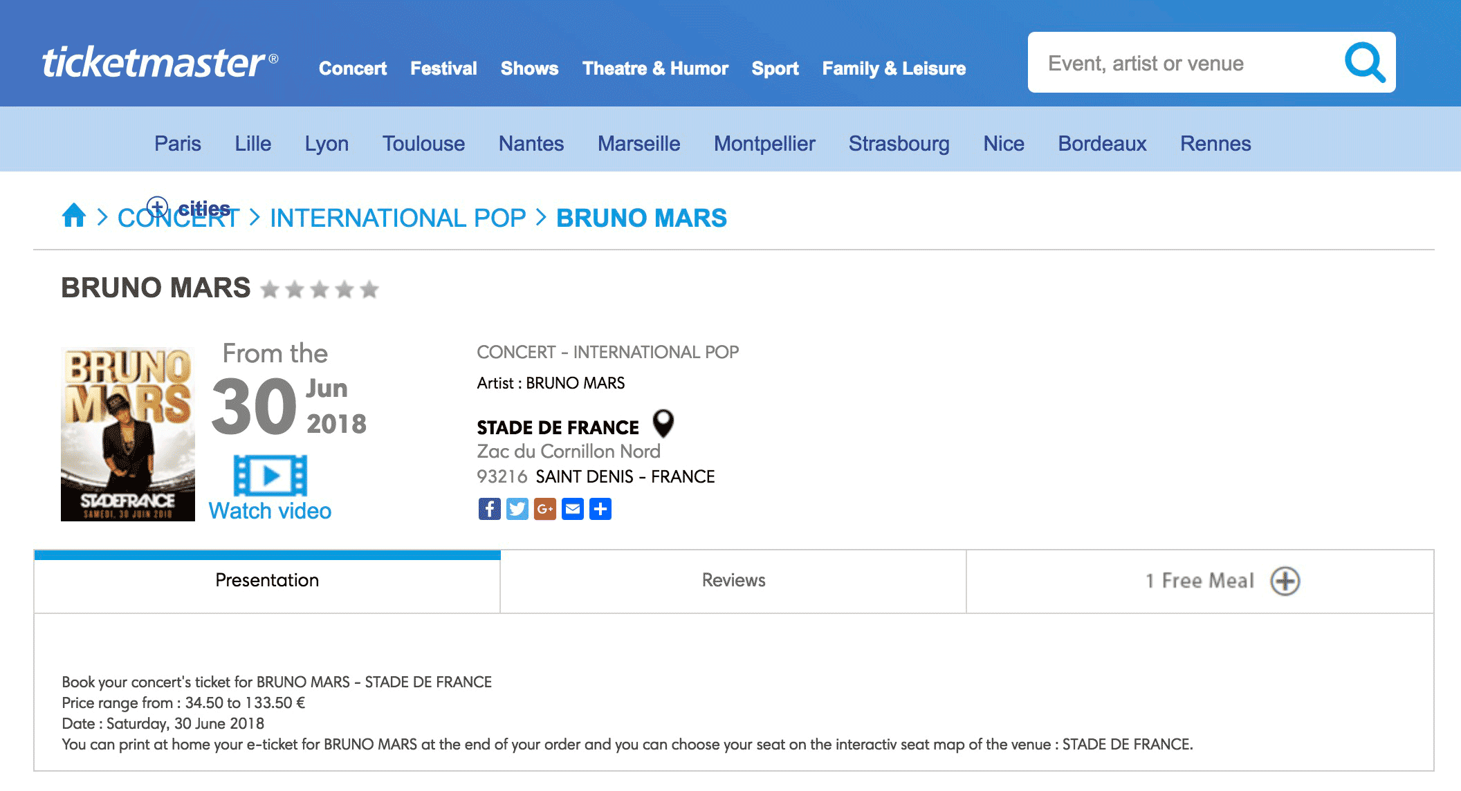 Сайт, на котором продают билеты на концерт Бруно Марса в Париже
