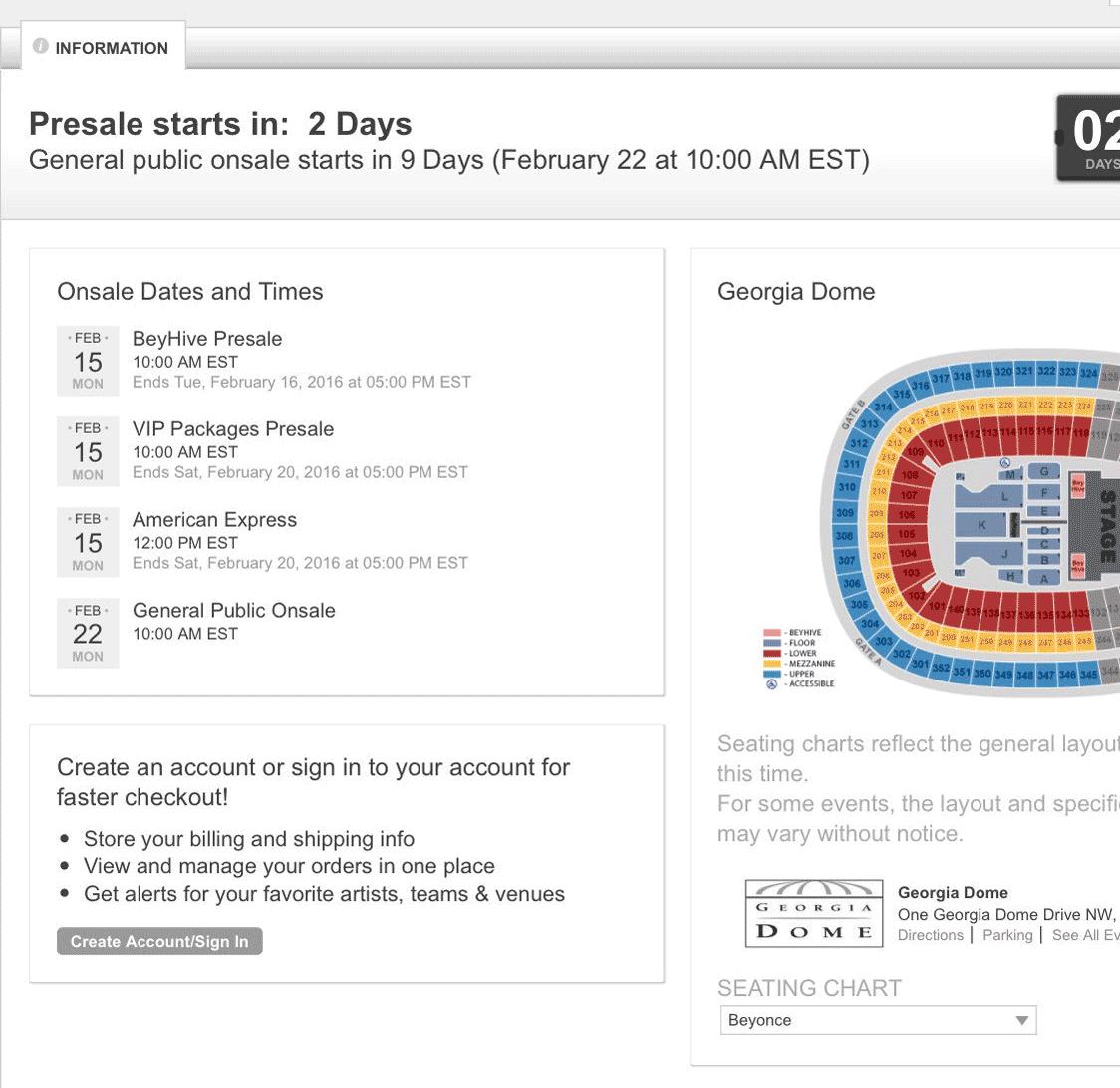 Отсчет дней до предпродажи билетов на концерт Бейонсе в 2016 году