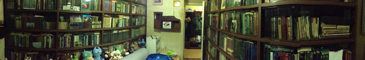 В квартире было примерно 40 полок и 2500 книг на них