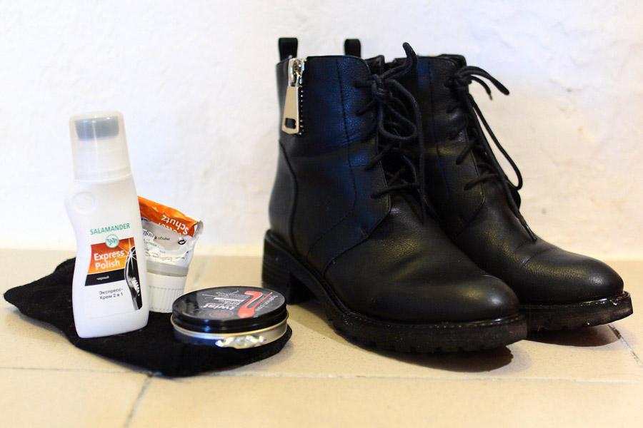 Ботинки, начищенные натуральным воском, на сгибах обработанные кремом