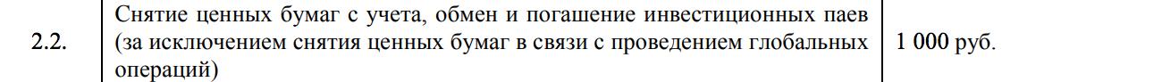 Стоимость в депозитарии Брокера-1 за вывод бумаг со счета. 1000<span class=ruble>Р</span> за одно наименование бумаги