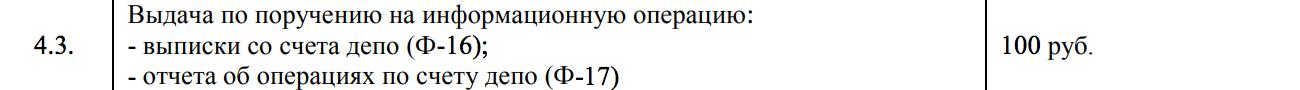 Тариф депозитария Брокера-1 на получение выписки. 100 р. за одно наименование бумаги
