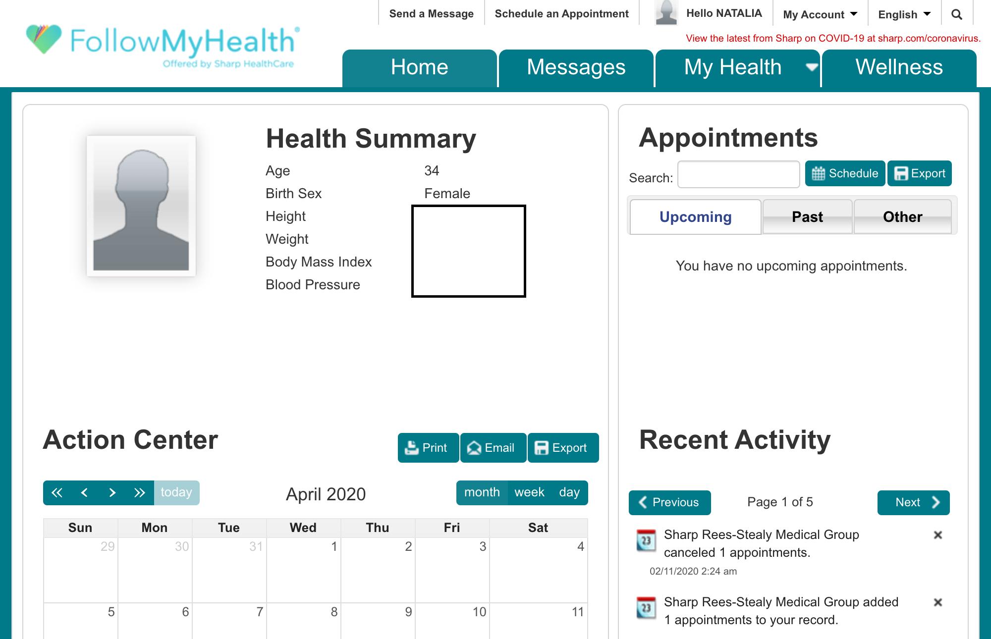 Личный кабинет клиники, где можно посмотреть анализы, написать письмо врачу или записаться на прием