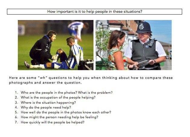Пример задания из раздела говорение. Нужно в течение минуты отвечать на вопрос: «Насколько важно помогать людям в этих ситуациях?» Приэтом надо сравнить и прокомментировать обе ситуации