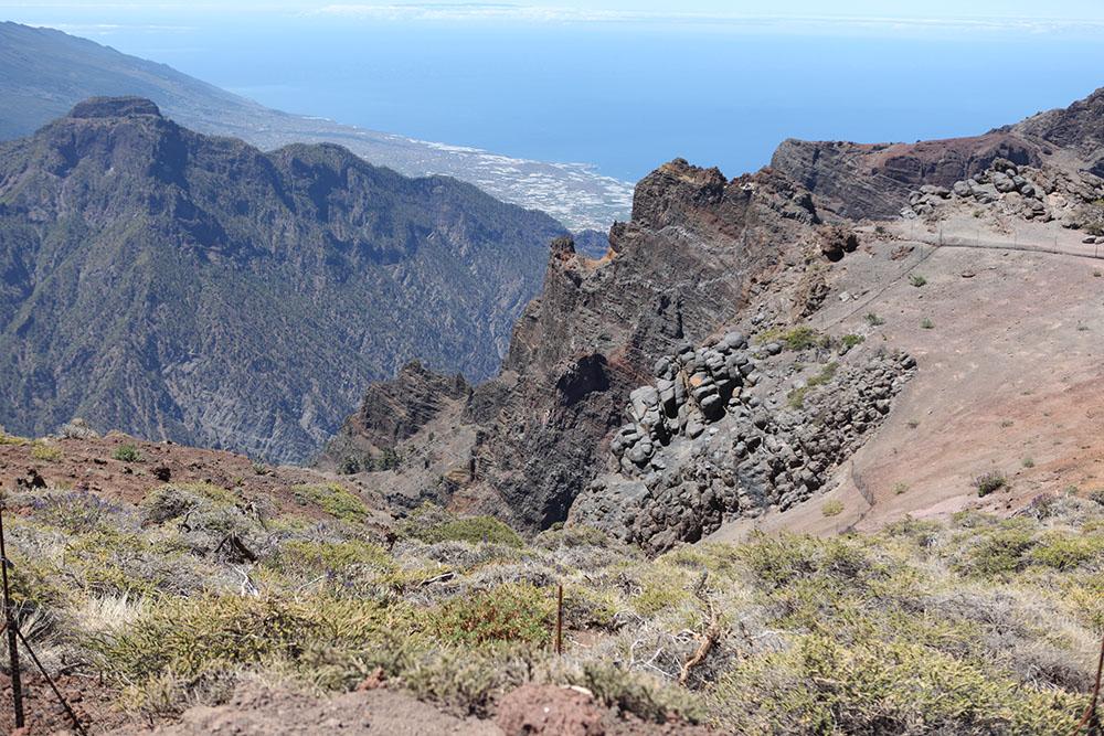 Вид на городскую застройку и океан с одной из высоких точек парка. Пальма и здесь оправдывает звание самого зеленого острова архипелага: склоны высотой более 2000 метров покрыты буйной растительностью