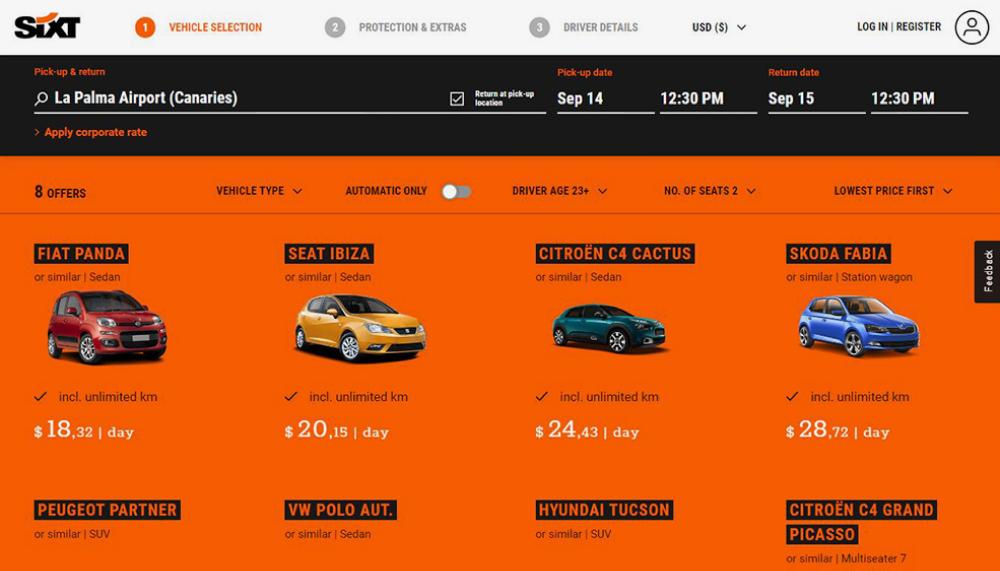 На Пальме более выгодный вариант в Sixt — 18,32€