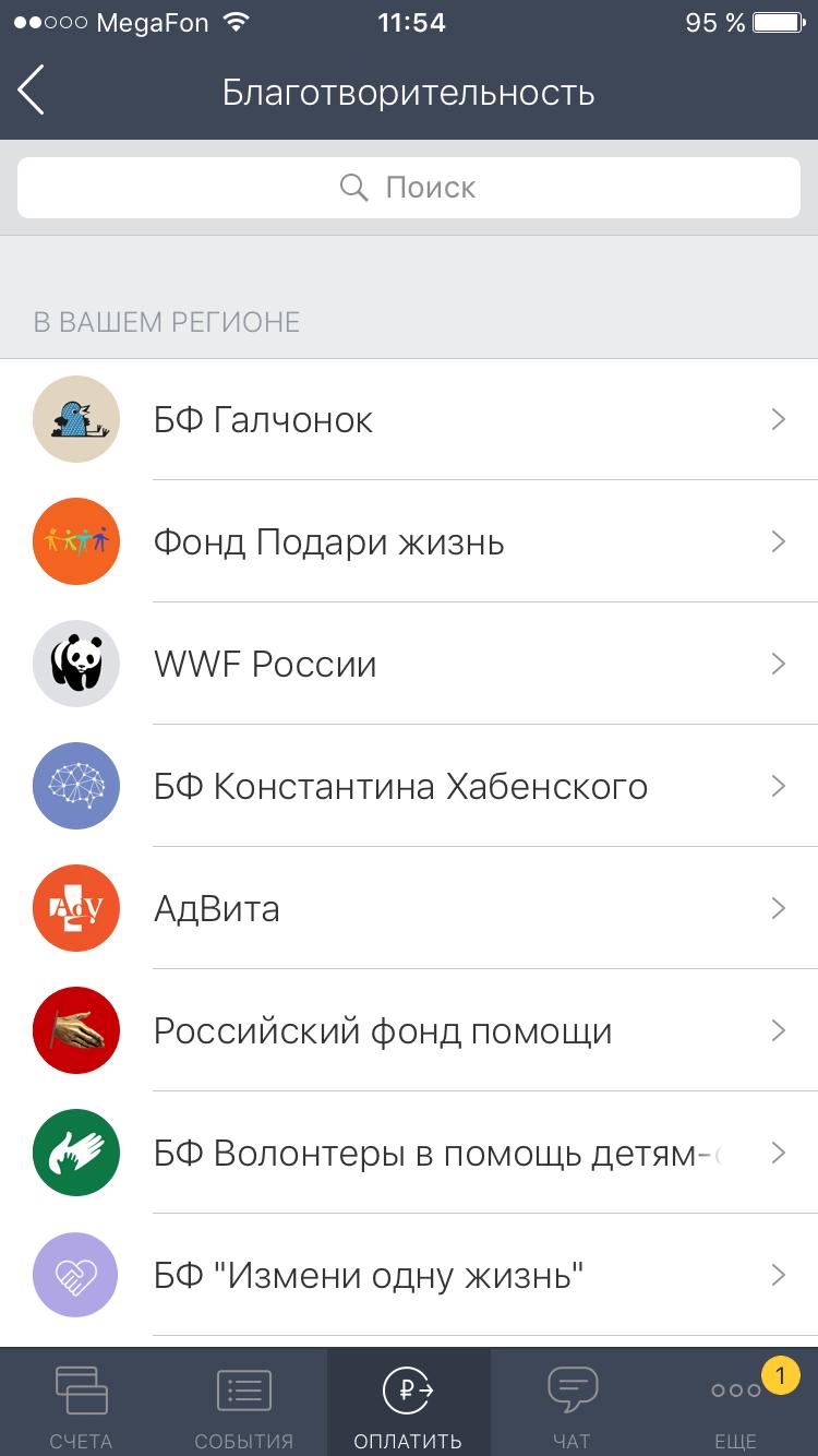 Список благотворительных фондов в приложении Тинькофф-банка