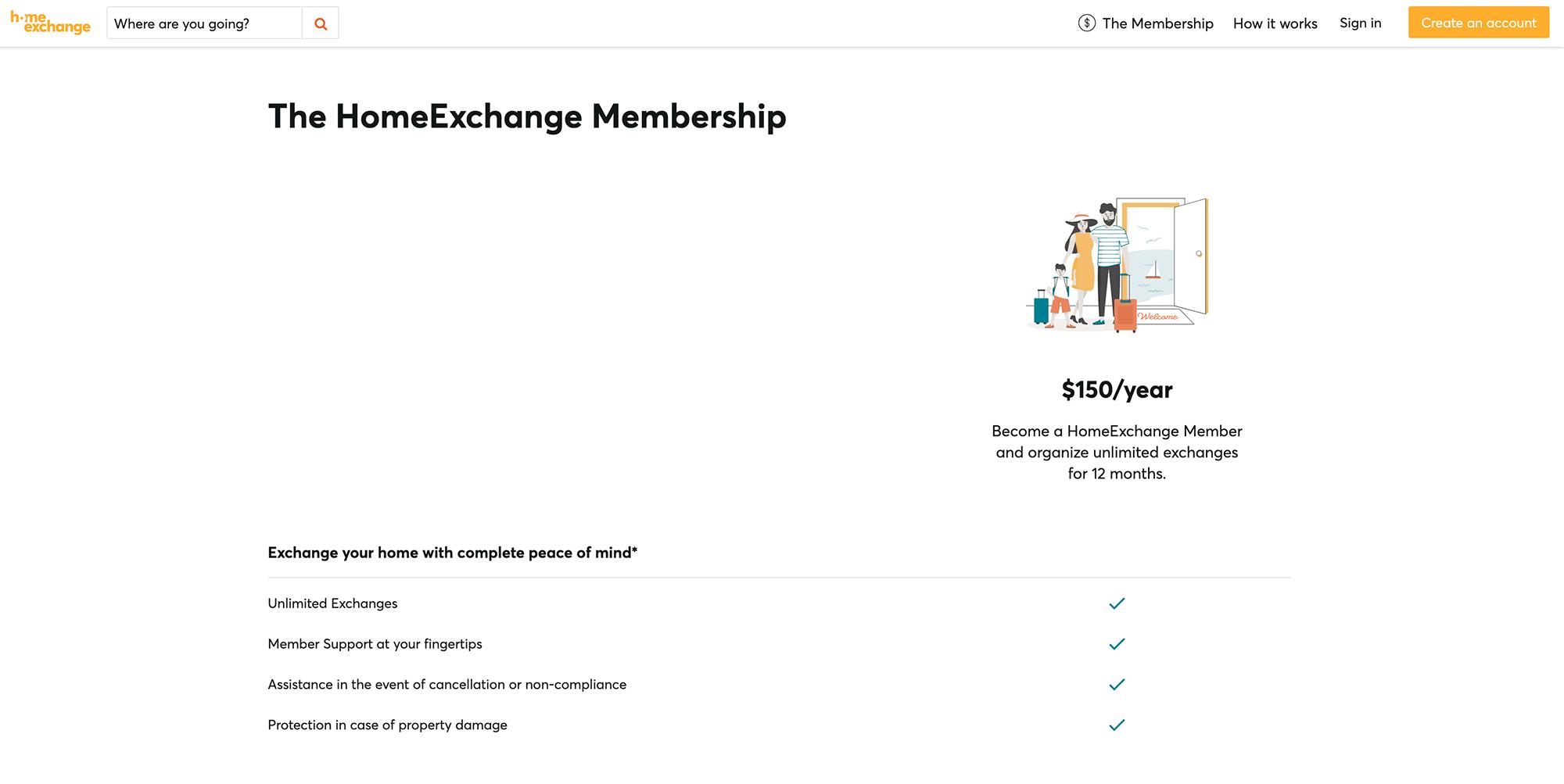 На сайтах по обмену домами также платная регистрация. На HomeExchange — 150$ в год (9255<span class=ruble>Р</span>)