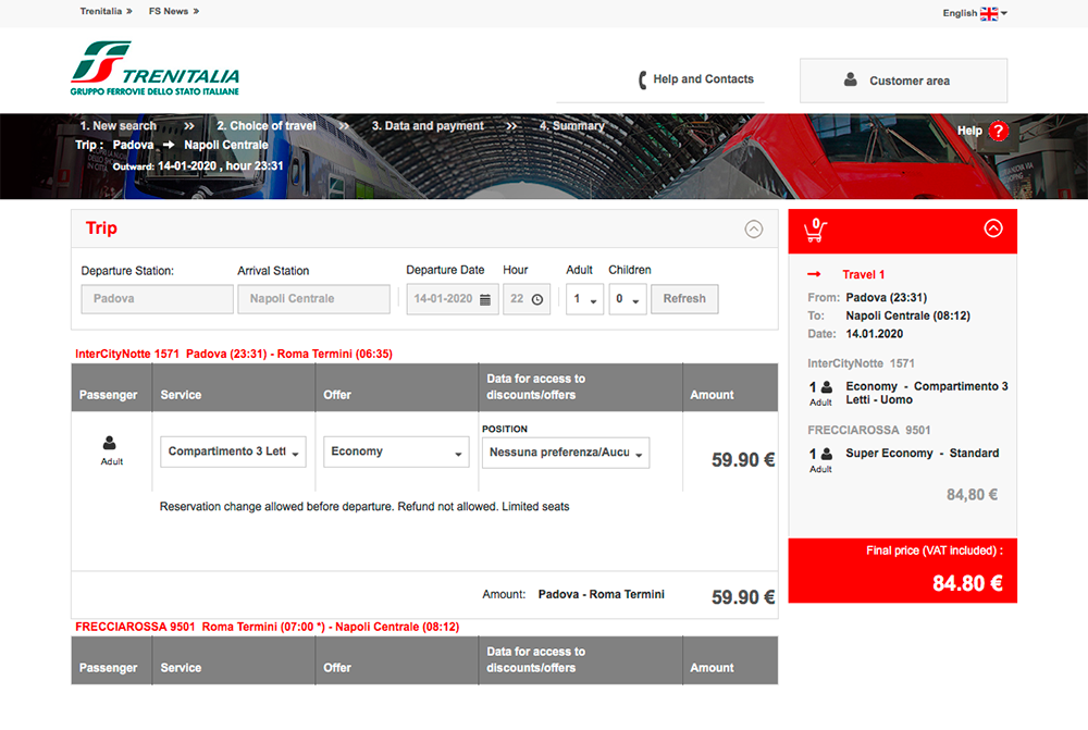 Билеты продают на сайте «Trenitalia»