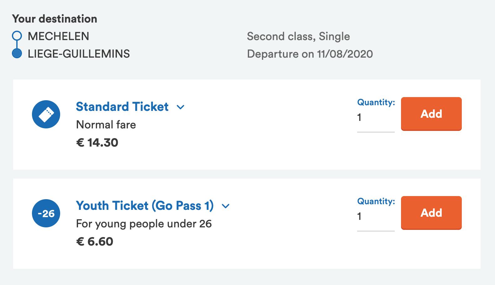 Обычный билет на поезд из Мехелена в Льеж стоит 14,3€. Длялюдей младше 26 лет — 6,6€