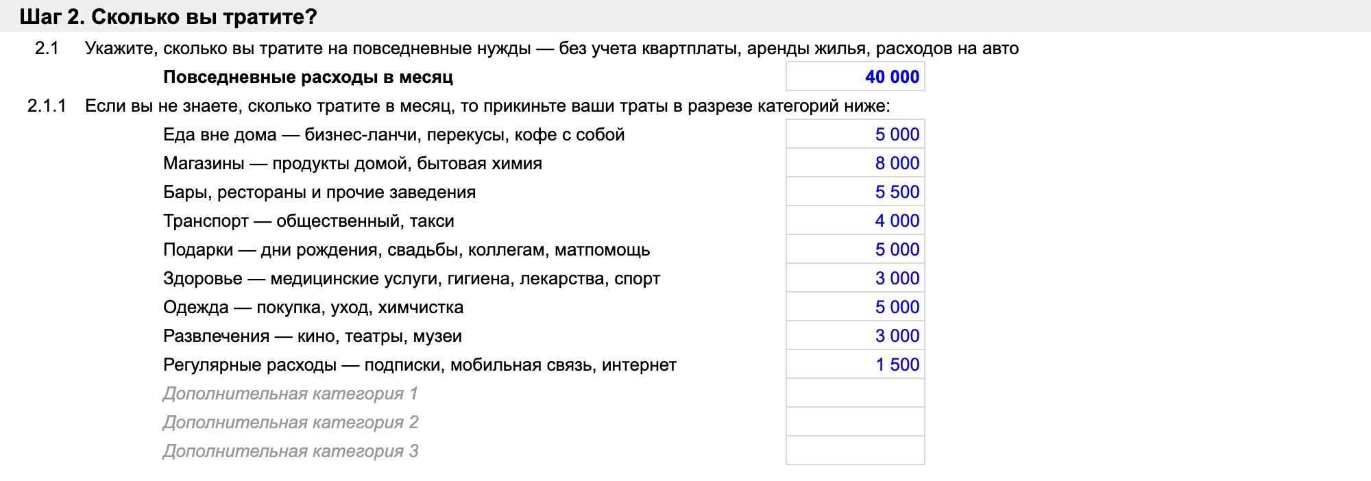 Чтобы прикинуть средний расход в месяц, укажите ваши затраты по категориям. В пункте2.1 таблица автоматически посчитает сумму этих трат