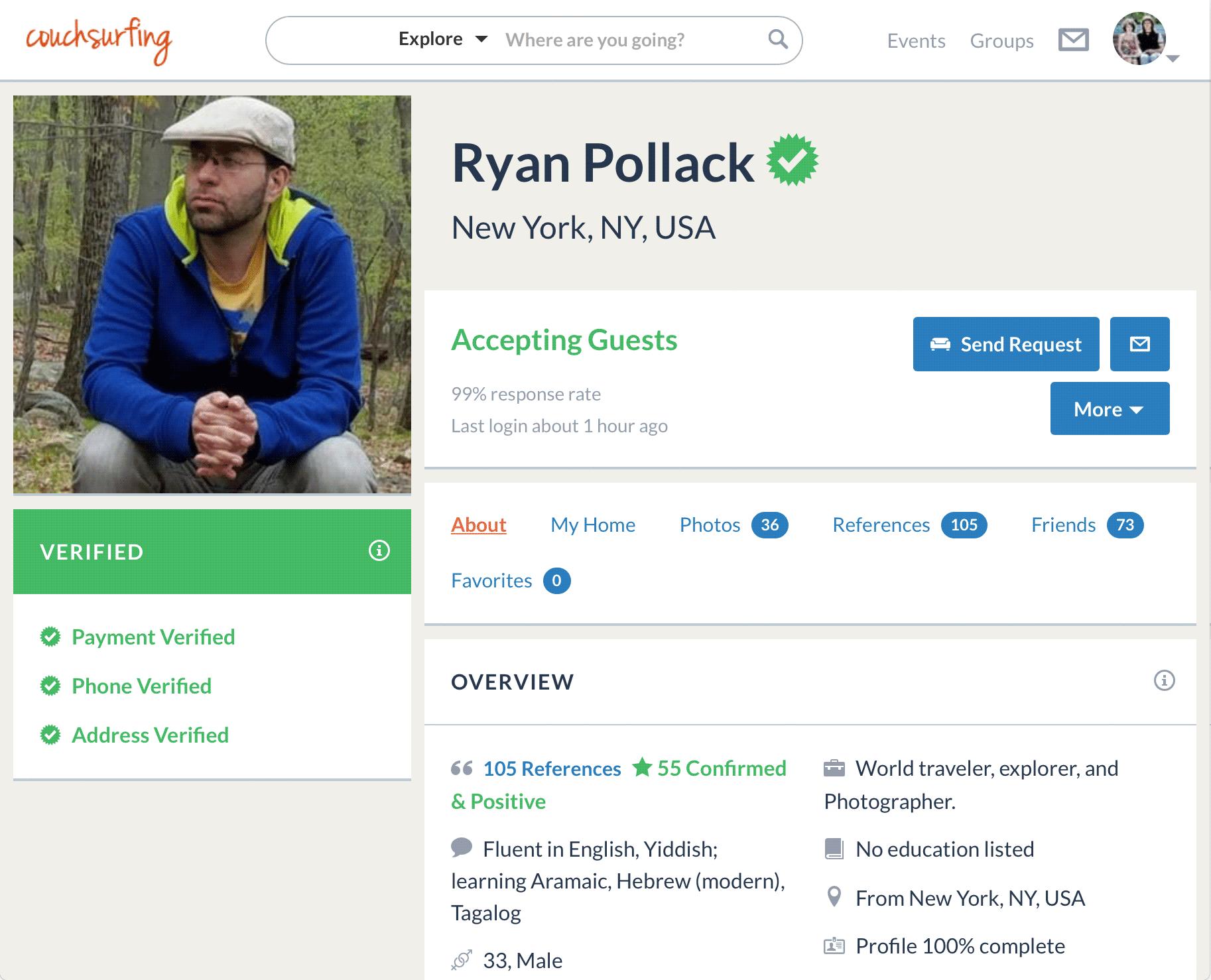 Образцовый профиль Райана Поллака из Нью-Йорка: фотографии, отзывы, подробный рассказ о себе