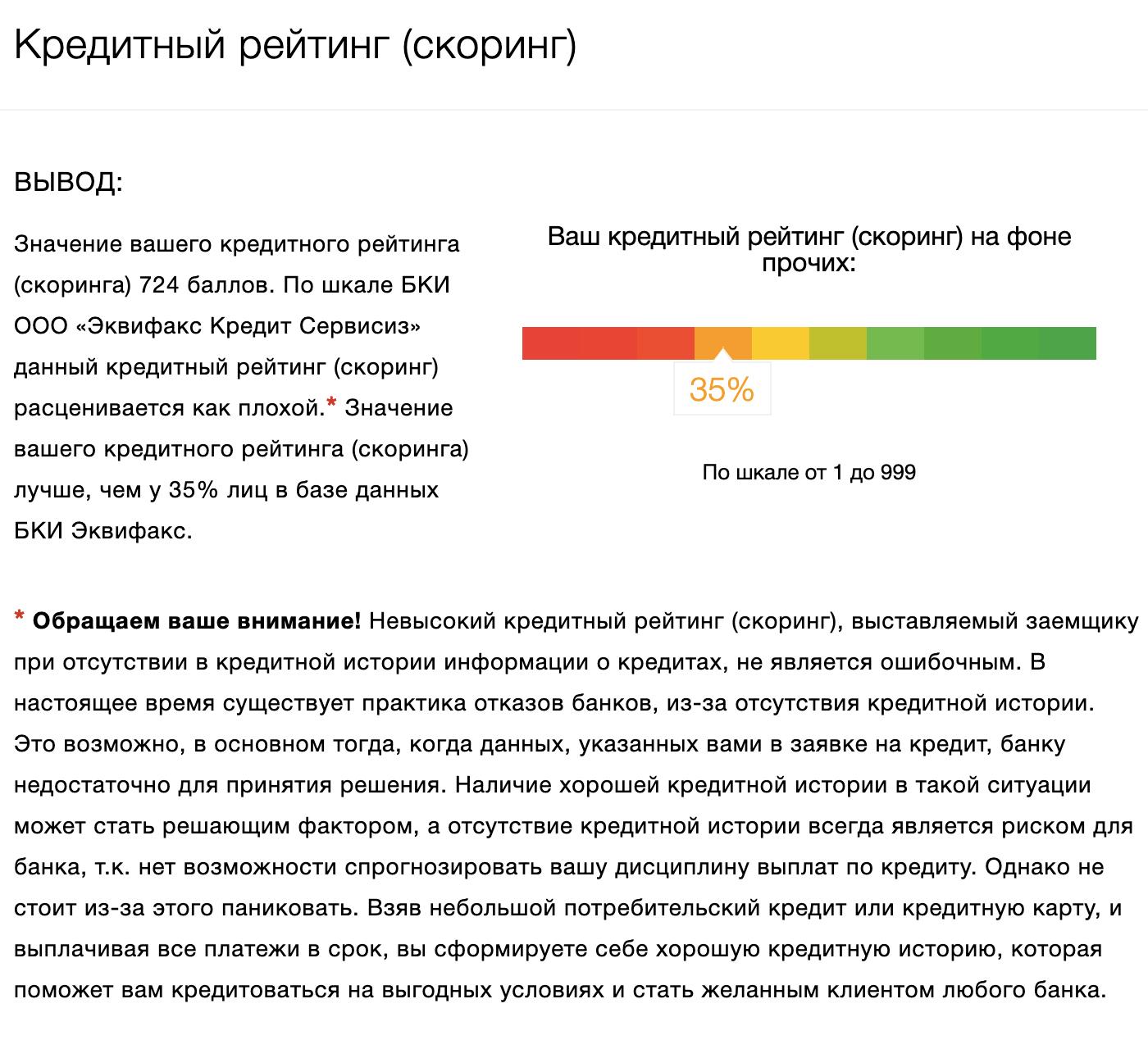 Расшифровка оценки от БКИ «Эквифакс»
