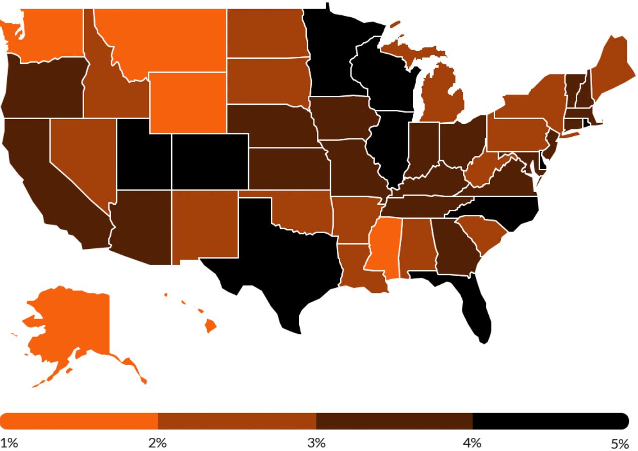 Как в разных штатах США упали цены на б/у автомобили между январем и маем 2020года. Источник: CoPilot