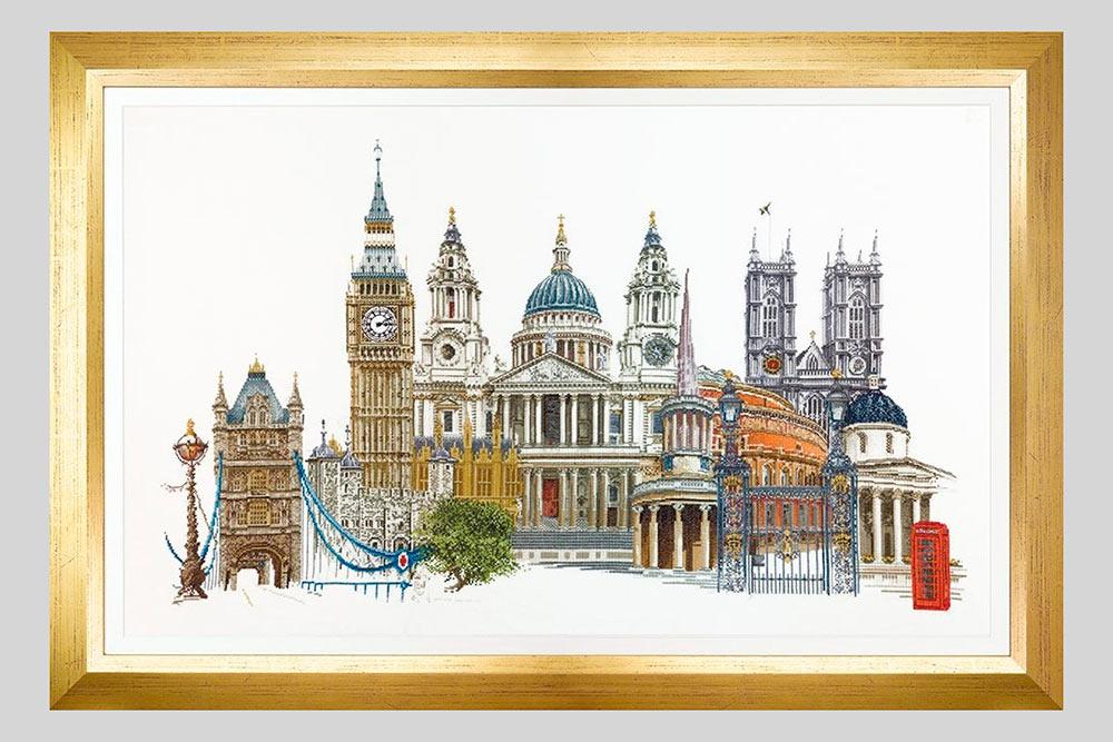 Набор «Лондон» от Thea Gouverneur стоит 5082<span class=ruble>Р</span>. Вышивка 79 × 50 см на очень мелкой канве. В наборе — схема на двенадцати листах и 125&nbsp;оттенков мулине. Источник: «Мир Вышивки»
