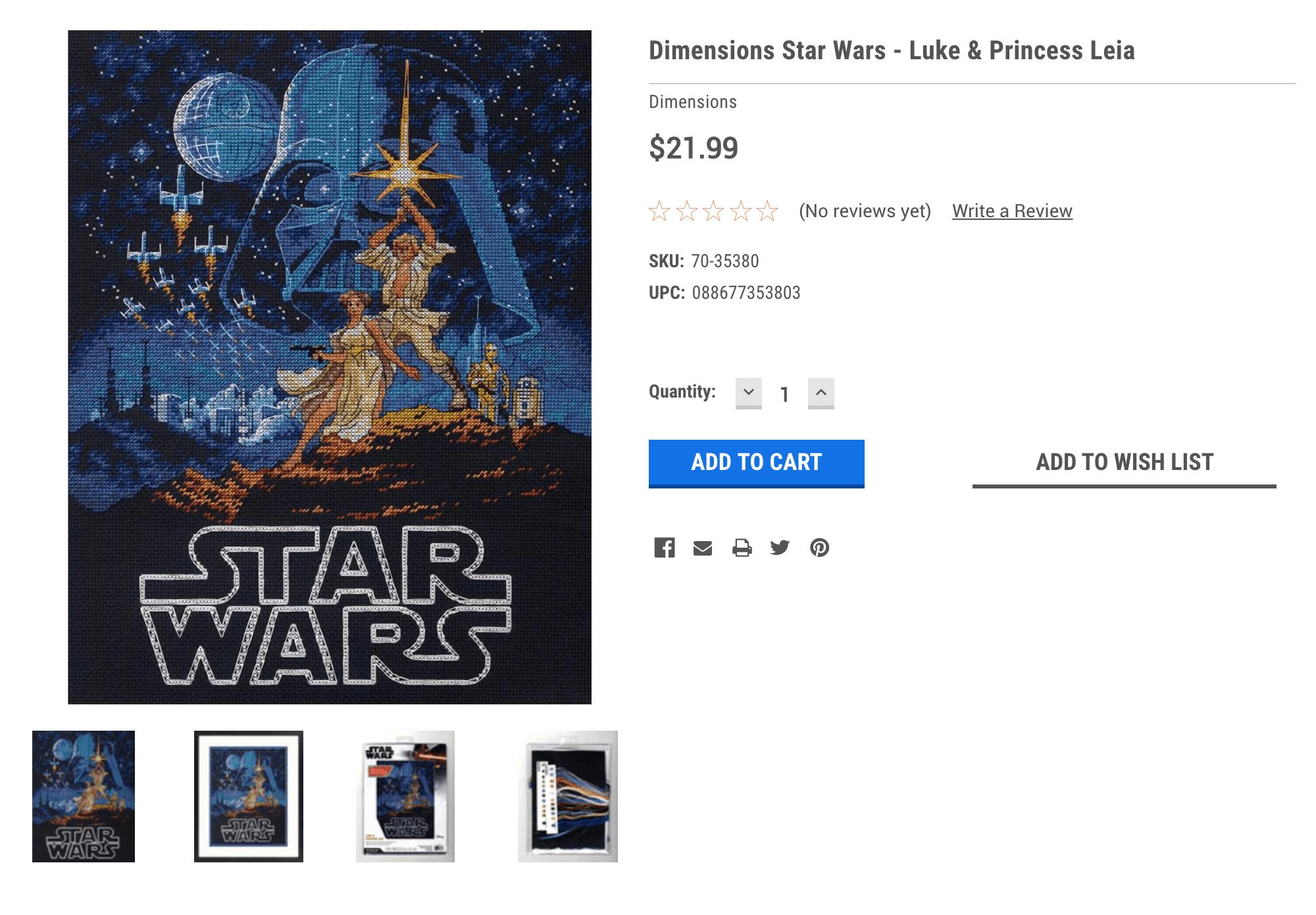На сайте crossstich.com аналогичный набор по «Звездным войнам» стоит 21,99$