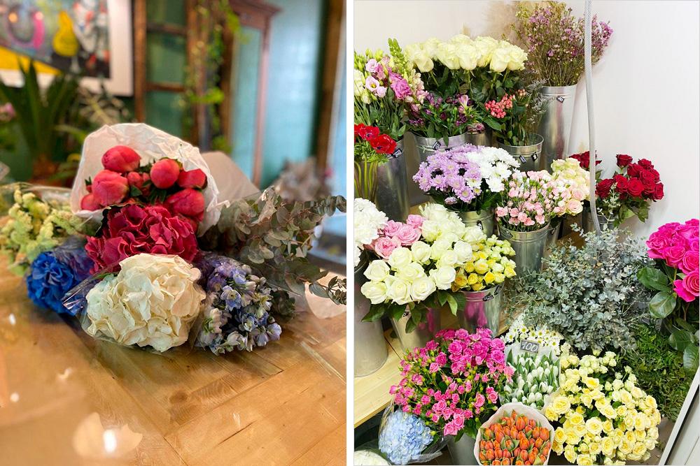 Основной набор цветов: гортензии, пионы, розы, хризантемы, гвоздики, тюльпаны, эустома. Есть ицветы, которые особенно популярны напраздники: тюльпаны на8Марта, гвоздики наДеньПобеды, пионы икрасные розы на14февраля