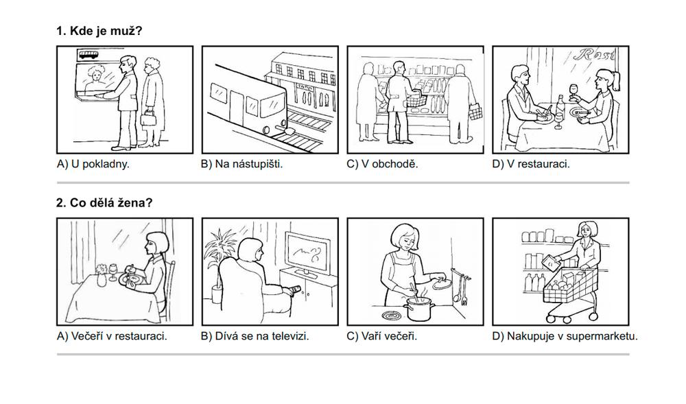 Пример задания из блока «Аудирование». Картинки помогают понять, о чем речь