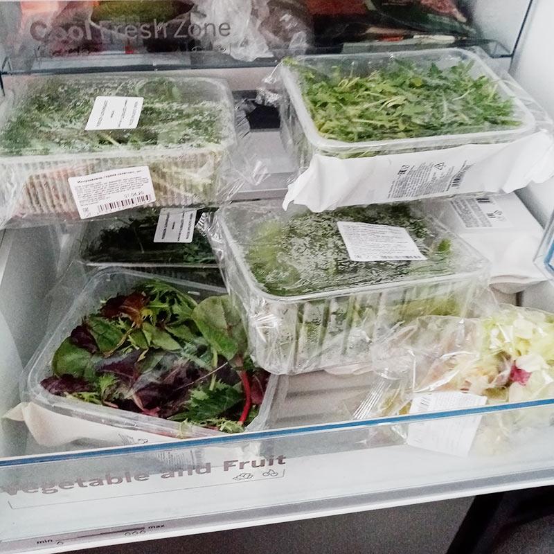 Запасы зелени у нас в холодильнике
