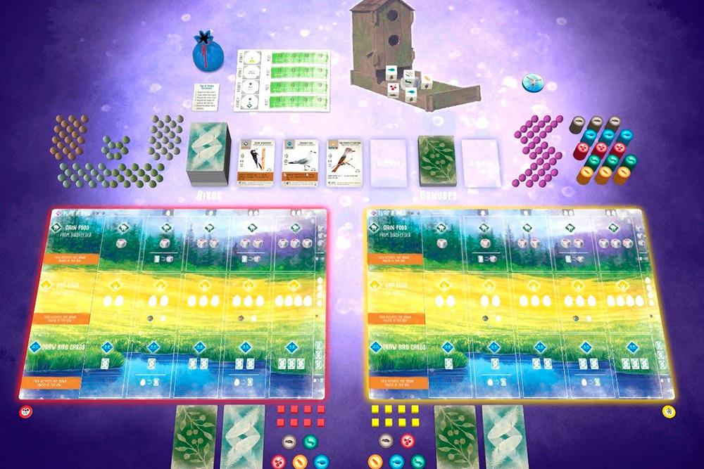 Суть игры «Крылья» в следующем. У вас есть планшет, разделенный на три места обитания птиц: лес, луг и водоем. У каждого игрока — карты с птицами. У птиц свои свойства и предпочтения по ареалу, типу питания и гнезд. Нужно заселять планшет птичками, комбинируя их свойства и выполняя цели на раунд и игру