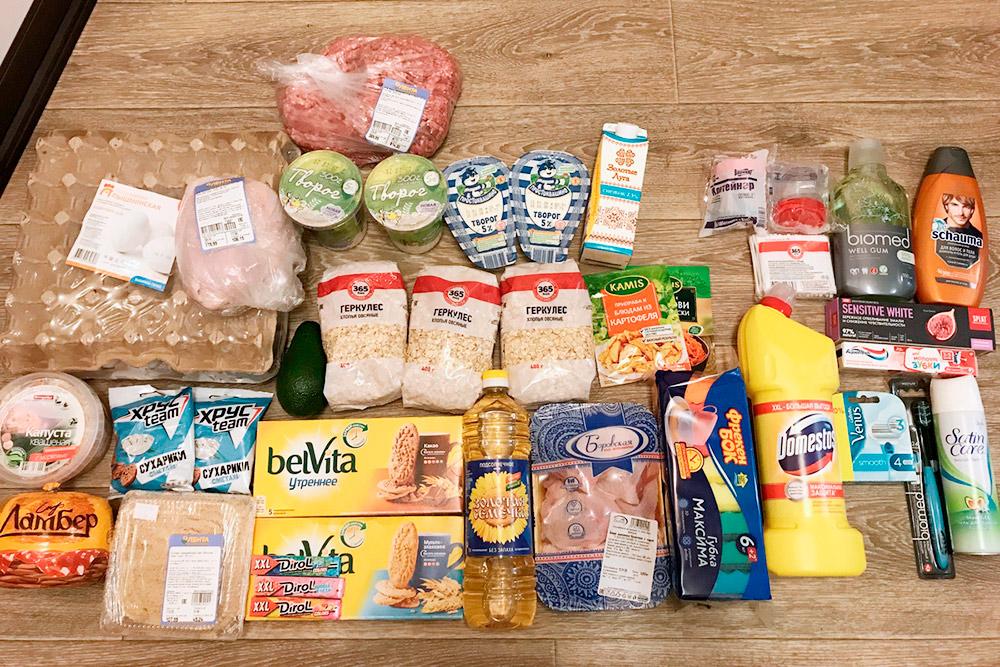 Наша типичная закупка в супермаркете «Лента» на 4500<span class=ruble>Р</span>. Это фото для&nbsp;примера, на этой неделе не закупались
