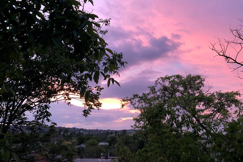Вид на закат из нашего дома