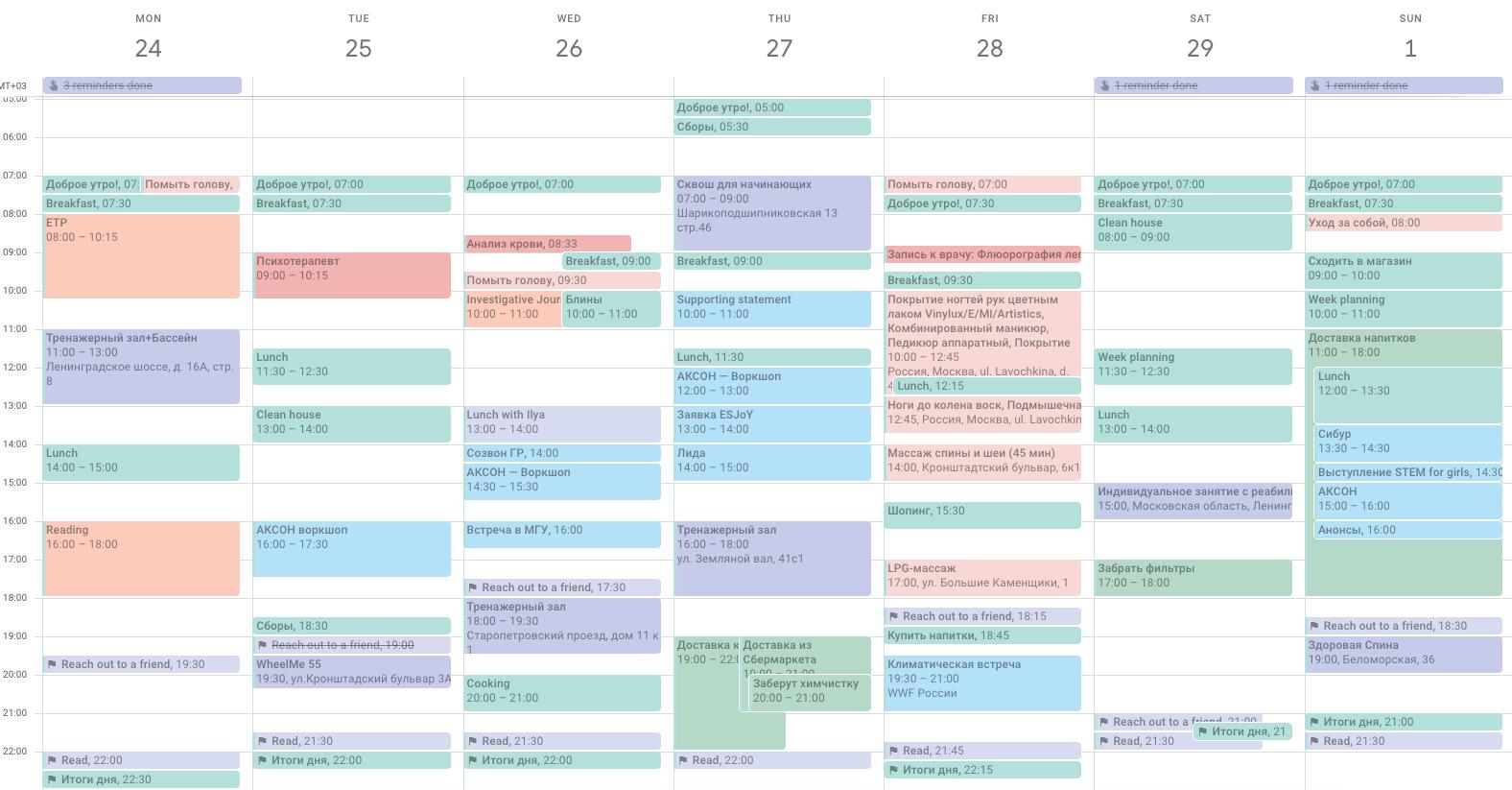 Так выглядела моя типичная докоронавирусная неделя с 24 февраля по 1 марта. Цвет в календаре означает тип события
