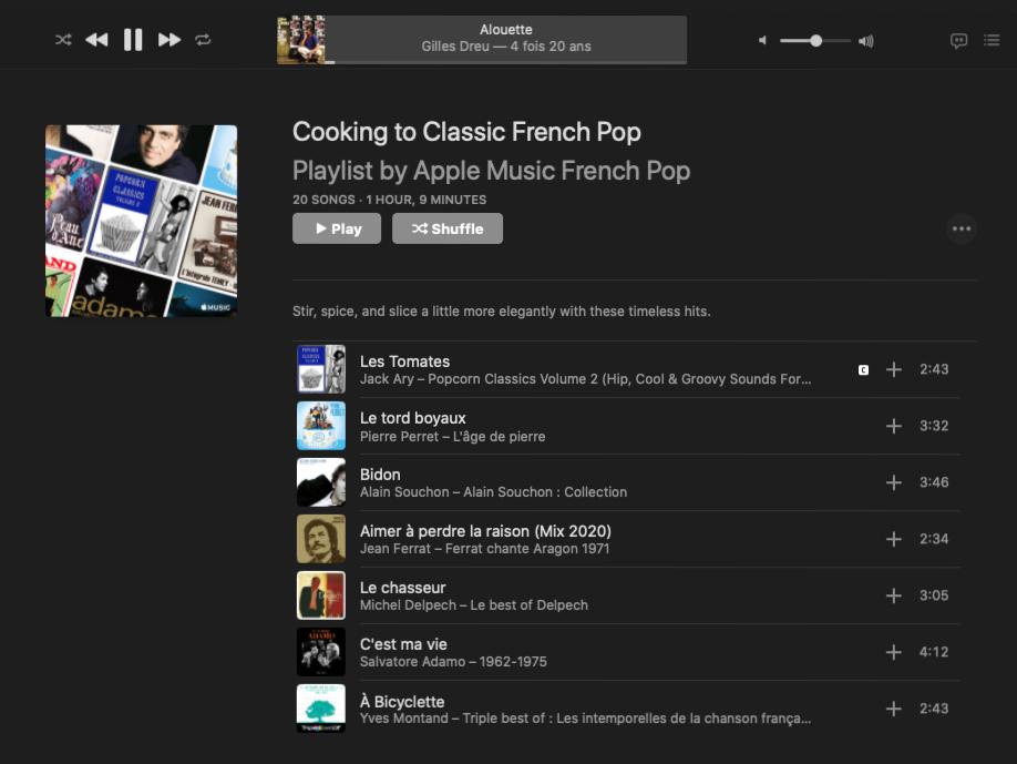 Включила на колонке плейлист французских песен проеду. Есть и такой в «Эпл-мьюзик», и я его очень люблю