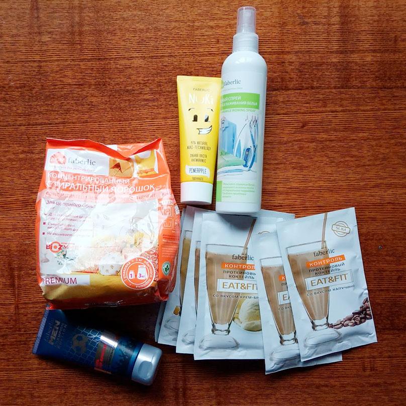 Мой заказ в «Фаберлике»: гель для бритья, зубная паста, стиральный порошок, витаминные коктейли и разглаживатель для одежды. Ведь гладить — это долго