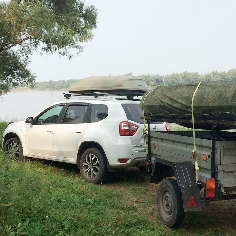 Добрались до реки с лодкой